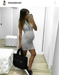 Striped maternity dress