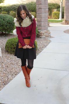 Red Gingham Flannel, Black Box Pleat Skirt, Beige Fur Tucker, Cognac Boots, Cognac Clutch, J.Crew, J.Crew Factory, Loeffler Randall, Clare V