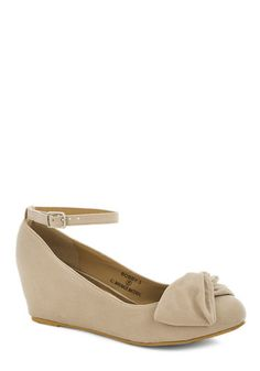 Such a Doll Wedge in Cream - Solid, Bows, Daytime Party, Mid, Good, Wedge, Cream, Work, Graduation, Variation