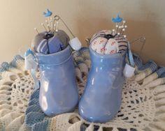 Vintage Blue Baby Boy Booties Shoes, Feedsack Fabric Pincushion Keepsake, Novelty Pin Keep, USA Pottery by SavvyArt2012 on Etsy https://www.etsy.com/listing/197548137/vintage-blue-baby-boy-booties-shoes
