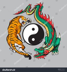 Стоковая векторная графика «Dragon Fighting Tiger Around Yin Yang» (без лицензионных платежей), 772766755 Dragon Tiger Tattoo, Tribal Dragon Tattoos, Tiger Dragon, Chinese Dragon Tattoos, Tatuajes Yin Yang, Yin Yang Tattoos, Arte Yin Yang, Yin Yang Art, Tattoo Ink