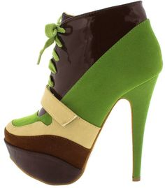 e3f272aec IREYDA GREEN BROWN COLORBLOCK LACE UP WOMEN S FASHION BOOTS ONLY  13.88.  All women s shoes