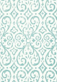 wallpaper for the guest bath PATARA IKAT, Aqua, T64145, Collection Caravan from Thibaut