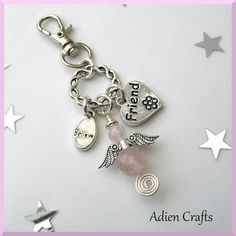 Friend Guardian Angel Purse or Bag Charm Rose by adiencrafts, £5.95