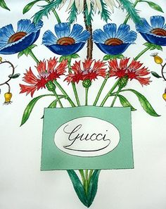 60S GUCCI / V. ACCORNERO Flora Vintage, Gucci Scarf, Vintage Clothing Online, Silk Scarves, Vintage Outfits, Tropical, Illustrations, Tools, Patterns