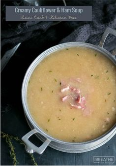 Creamy cauliflower and ham soup! This easy and delicious low carb cauliflower soup recipe is a great way to use up leftover ham! It's also gluten free, dairy free, keto, Paleo, and even Whole 30 compliant!