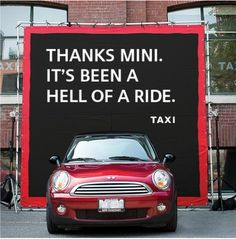 Another Canadian agency, Anomaly recently won BMW's Mini account from Taxi. But Taxi, which had been Mini's Agency Of Record for the past 10 years, found a novel way to be a good loser. #mini #taxi #canada
