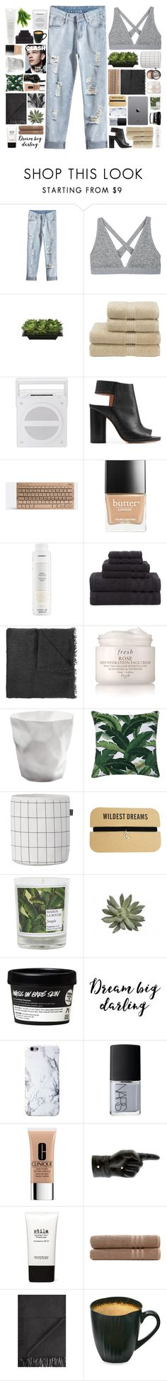 """""""Talking 'bout it's not my style"""" by justonegirlwithdreams ❤ liked on Polyvore featuring T By Alexander Wang, Lux-Art Silks, Christy, Maison Margiela, Butter London, Korres, Martex, Faliero Sarti, Fresh and ferm LIVING"""