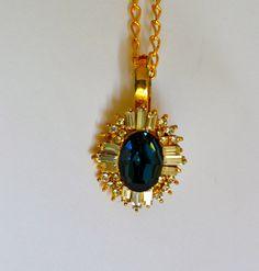 Large CZ Sapphire Pendant Gold Tone Clear CZ Fine by ESTATENOW, $12.50