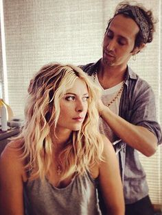 "MARIA SHARAPOVA'S TEXTURED WAVES ""Setting damp hair in four braids gives you the beachiest waves,"" says hairstylist Adir Abergel (that's him styling Sharapova's hair). To get her look, mist damp hair with salt spray, divide it into four sections, and then loosely braid each one as it dries.   Follow Allure on Pinterest"