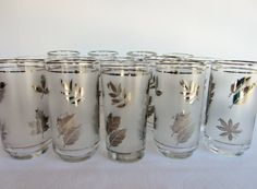 Frosted Libby Silver Foliage Glass Tumblers - Set of 14 Drinking Glasses - Water Glasses