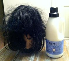 Fixing a wig that has seen better days.