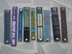 Jamie Keiles creates fashionable wrist cuffs using the spines of old and damaged books, stitched up with leather backings and heavy-duty snaps. (She'll line them in vinyl too, if you'd prefer.) I l...