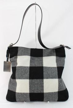 Black, white, and gray buffalo check flannel handbag by Celine!  Excellent condition.. www.rodeodrivedeals.com