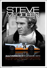 Porsche Steve McQueen and Gulf 917 at Lemans in 1970 Poster NEW