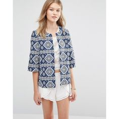 Vero Moda Geo Printed Jacket ($49) ❤ liked on Polyvore featuring outerwear, jackets, blue, blue jackets, open front jacket, fleece-lined jackets, vero moda jacket and vero moda