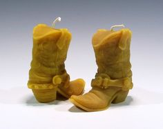 Cowboy Boots Beeswax Candle by GardenGateDesign on Etsy
