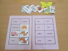 Hoy os enseño este juego en el que cada niño/a debe relacionar la palabra con su animal correspondiente: