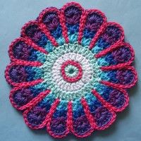 Crochet Mandala Wheel made by Carol, Kent, UK for yarndale.co.uk