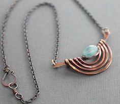 Tribal inspired copper necklace with aquamarine door IngoDesign