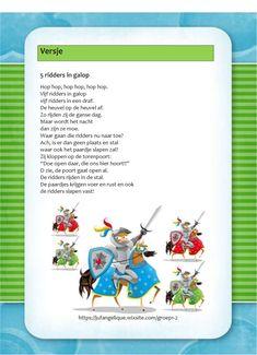 Versje: 5 Ridders in galop Detective, Knight, Teaching, Scrabble, Carnival, Soldiers, Education, Cavalier, Knights