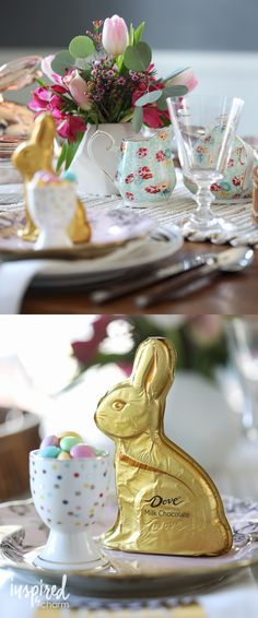 Easter tablescape - decorating for spring and Easter. Easter place setting ideas.