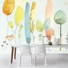 Watercolor Pink Flowers Wallpaper Wall Mural, Hanging Branch Floral Wall Murals Wallpaper, Wallpaper for Bedroom Living Room Home Decor Green Leaf Wallpaper, Wallpaper Wall, Watercolor Wallpaper, Leaves Wallpaper, Watercolor Flowers, Watercolor Paintings, Cleaning Walls, Rooms Home Decor, Plant Wall