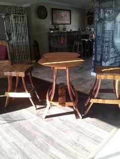 wine barrel tasting table