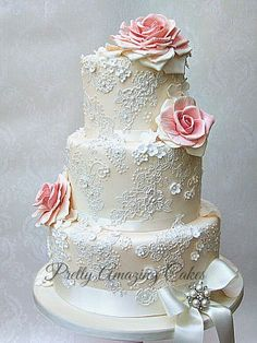 Delicate lace wedding cake, Pretty Amazing Cakes, Wedding Cakes, Bristol