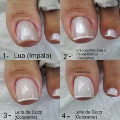 """4,186 curtidas, 92 comentários - Grazi Brum (@grazielabrum) no Instagram: """"Bom dia! Sugestão de francesinha: . 1- Lua (Impala) 2- Francesinha com o Pétala Branca (Colorama) 3…"""" Fabulous Nails, Perfect Nails, Hair And Nails, My Nails, Feet Nails, Elegant Nails, Cute Nail Designs, Nail Arts, Manicure And Pedicure"""