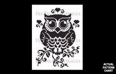 Owl Cross Stitch Owl Silhouette Owl Cross by NewYorkNeedleworks