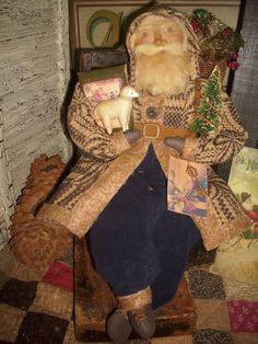 Primitive Santa,Antique coverlet, Antique little leather book, Sheep, OOAK ~ AprilCummins