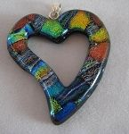 Great Mother's Day Gift!  Handmade Dichroic Glass Cutout Pendant Heart-Shaped - XL