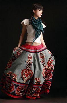 Maxi Skirts – Boho Ethnic Print Folk Maxi Skirt Longue Jupe – a unique product by Chinadolls on DaWanda