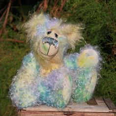 Cosmo is a very handsome boy, we think he's stellar, cosmic even, he has the colours of a distant nebula, or the earth's auroras, gentle, uplifting and joyful, we hope you like him, he's a bear filled with charm and love.  By BarbaraAnnBears, £260.00