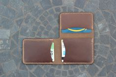 Handmade Men's Trifold Leather Wallet - Made in the USA - Hand Stitched - $120