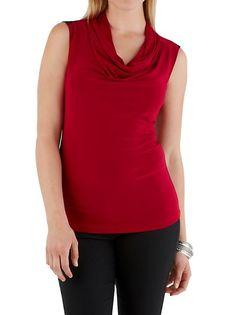 dots: Sleeveless Colorblocked Drape Neck Top