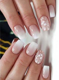 Lace Nail Design, Ombre Nail Designs, Short Nail Designs, Nail Art Designs, Nails Design, Neutral Nail Designs, Spring Nail Art, Spring Nails, Summer Nails