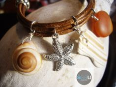Madagascar – Brown leather bracelet – Seashell, pewter, roller shell and agate of Madagascar  - seaucollection.com