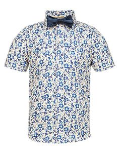 Pure Cotton Chambray Floral Shirt with Bow Tie Clothing