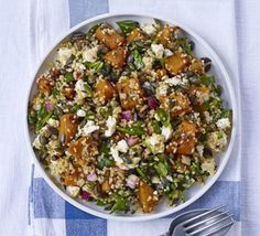 Squash, feta & bulgur salad I tweak this slightly so that is served warm. This is a great meal for someone who isn't a natural vegetarian as it feels like quite a meaty and substantial meal. Salad Recipes Video, Fruit Salad Recipes, Bbc Good Food Recipes, Chicken Salad Recipes, Veggie Recipes, Vegetarian Recipes, Cooking Recipes, Healthy Recipes, Vegetarian Dish