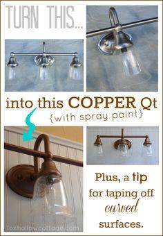 Spray Painted Light Fixture Makeover Tutorial and Tips #spraypaintingtip #rustoleum