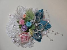 One of a Kind Pretty Pink Teal Blue Wedding Hair by HareBizBows, $21.99