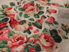 Applique Pieces Wearable Art & Pattern Chic Cabbage Rose Cranston Cotton Polished Fabric Country Elegance by Sewingthrutheyears on Etsy