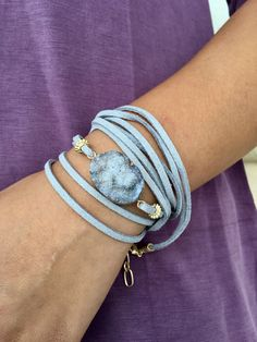 Druzy Agate Suede Wrap Bracelet