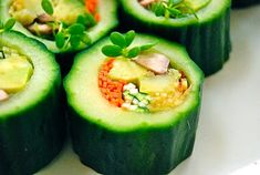 Gorgeous! Cucumber Wrapped Veggie Rolls