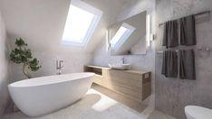 New bathroom tiles white grey tubs 34 ideas Best Bathroom Tiles, Bathroom Mirrors Diy, Beige Bathroom, Bathroom Interior, Wooden Cabinets, White Cabinets, Half Wall Shower, Bathroom Window Treatments, Small Floor Plans