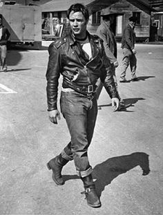 "Marlon Brando on the set of the ""The Wild One"""