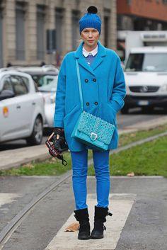 Vibrant Blue | Milan Fashion Week Menswear Fall 2013 | Zhanna Romashka on the street in Milan.