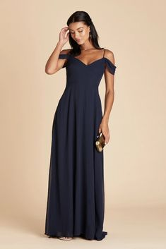 Devin Convertible Chiffon Bridesmaid Dress in Navy – Birdy Grey